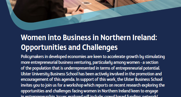 Women into Business in Northern Ireland: Opportunities and Challenges, 31 May 2018, Belfast