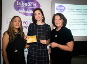 Lisa Messina (C) with ISBE President Kiran Trehan (L) & ISBE 2019 Co-Chair Michele Rusk (R)