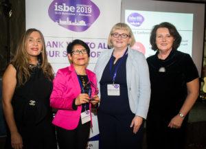 Gianni Romani (2nd L) with ISBE President Kiran Trehan (L), IJEBR Co-Editor Natalia Vershinina & ISBE 2019 Co-Chair Michele Rusk (R)