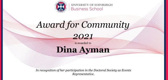 ISBE Member receives Award from University of Edinburgh Business School